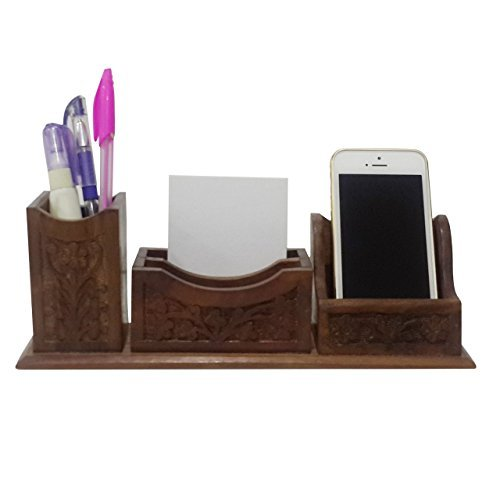Craftsman Table Office - Crafts'man Beautiful Indian Handcrafted Wooden Office Table Desktop Mobile phone holder. pen and paper note holder