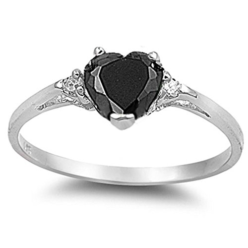 Oxford Diamond Co Simulated Black Onyx Heart & White Cubic Zirconia Ring Sz 5