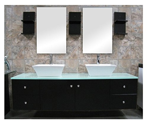 Double Ceramic Sink - Design Element Portland Wall-Mount Double Vessel Square Ceramic Sink Vanity Set with Tempered Glass Countertop and Espresso Finish, 61-inch