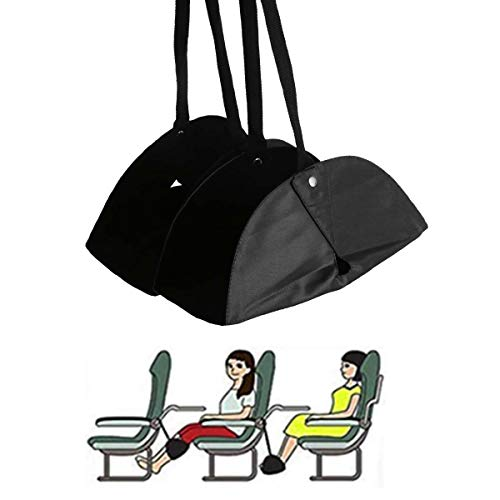 (Airplane Foot Rest Hammock, Yigou Portable Travel Accessories Adjustable Height with Separate Footrest Design for Flight Relaxation and Comfort, Black)