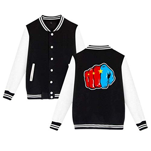 Pound for Pound Manny Pacquiao Game Logo Mens & Womens Casual Style Hoodie Baseball Uniform Jacket Sport Coat Black -