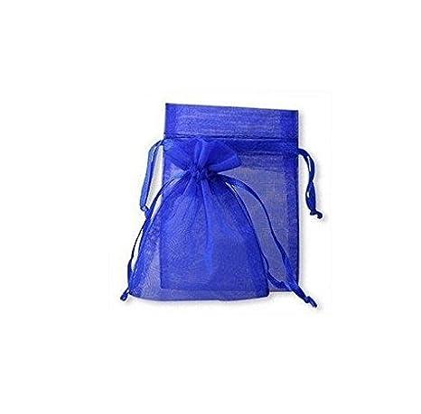Lyanther 100 Royal Blue Organza Wedding Favor Bags Bolsas de joyería 9cm x 12cm sin obsequios