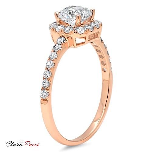 1.6 Ct Princess Cut Pave Halo Bridal Engagement Promise Anniversary Band Ring 14K Rose Gold, Clara Pucci