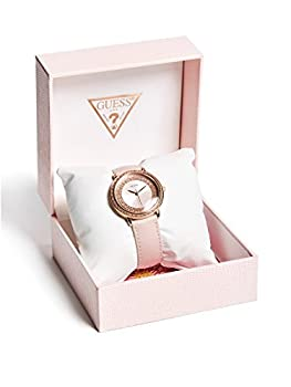 Guess Women's Quartz Stainless Steel & Leather Casual Watch, Color:pink (Model: U0032l7) 1