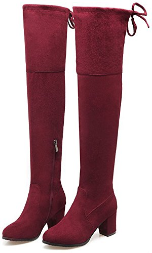 Up Mid Toe High Dressy Easemax Round Heel Knee Boots Red Over Zip Suede Wine Chunky Women's Faux XHYHwqv