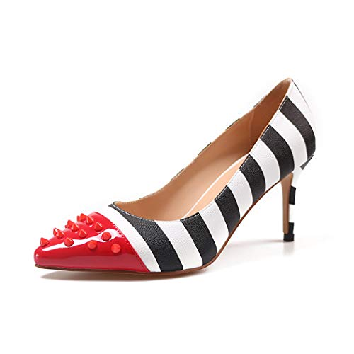 - Red Studded Pointed Toe Pumps Shoes for Women Black White Stripe Heels Slip on Rivets Pumps Party