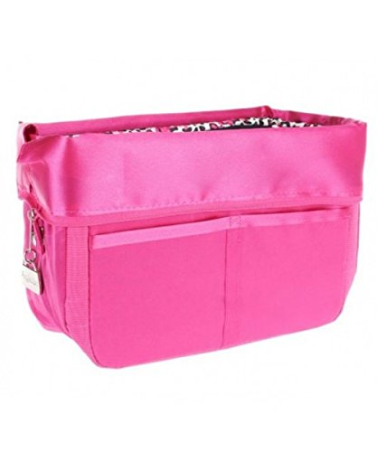 12 Pocket Purse Organizer by Pursfection - Pink with Leopard Lining