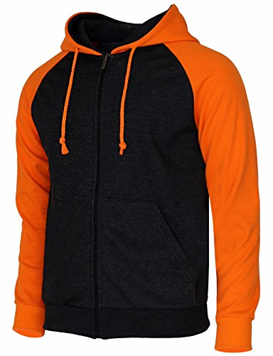 BCPOLO Men's Raglan Long Sleeve Fleece Casuall Full-Zip Up Hoodie Jacket orange-XL (Asia-XXXL)