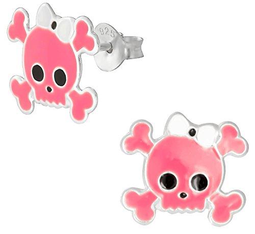 Hypoallergenic Sterling Silver Pink Girly Skull & Crossbones Stud Earrings for Kids (Nickel Free)