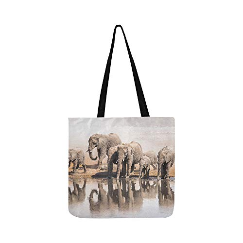 Family Of African Elephants Drinking At A Waterhol Canvas Tote Handbag Shoulder Bag Crossbody Bags Purses For Men And Women Shopping Tote (Family Shopping Bag Partridge)