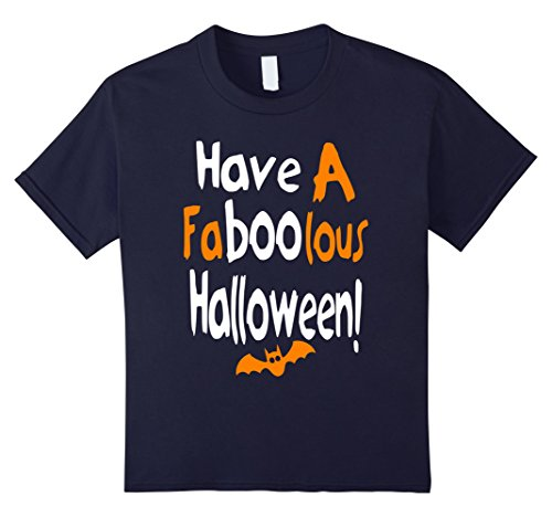 Kids Have A Faboolous Halloween Holiday Spooky Spirit T Shirt 12 Navy