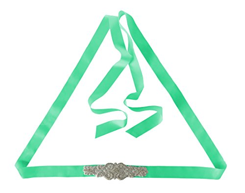 SOLOVEDRESS Rhinestone 4M Long Ribbon Sash Beaded Crystal Belt for Wedding Party Prom Evening Dresses Lime Green ()