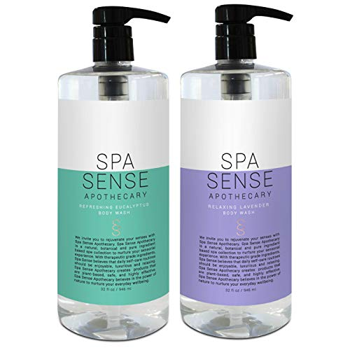 Spa Sense Apothecary Bath and Body Wash Collection, Bathing and Shower Gel, 32 OZ, Infused with Natural Essential Oils, Relaxing Lavender, Refreshing Eucalyptus Scent, Gift Set of ()