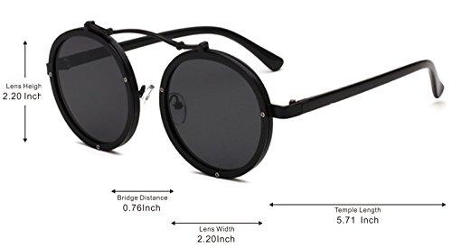 Sol Lente GLASSES J Gafas Adulto Retro Gafas Steampunk Unisex de Flip Para up amp;L Negro Mujeres Hombres Black Gafas 400w57q