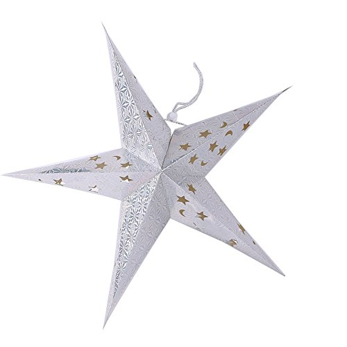 Gladle Paper Star Lantern Lampshade For Christmas Wedding Party Home Hanging Deco Silver,60CM