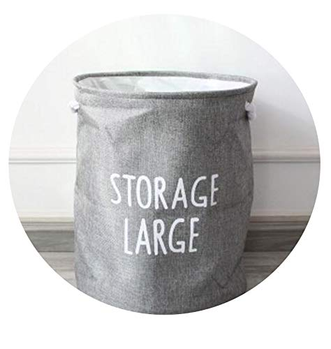 Upscale Denim Cotton Rope Foldable Bathroom Dirty Clothes Laundry Storage Buckets Bag Kids Toy Double Layer Thick Storage Basket,Gray L