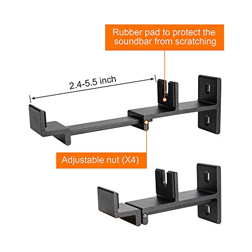 Universal SoundBar Mount Bracket Wall Mounting for Most of TV Sound Bar,Adjustable & Extendable Length -Black with Rubber Pad by EXCEL LIFE (Image #1)