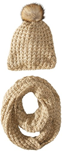 La Fiorentina Women's Chunky Knit Hat with Pom and Muffler 2 Piece Set, Sesame, One - Black Fri Sale