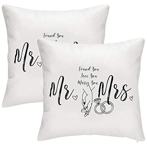 Senseware Mr & Mrs Throw Pillow Covers Cases 18x18 inches for Newlywed Couple Wedding Decor 2pcs (Pillow Mrs Covers Mr Throw And)