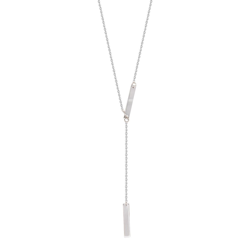 Sterling Silver Double Bar Adjustable Lariat Necklace