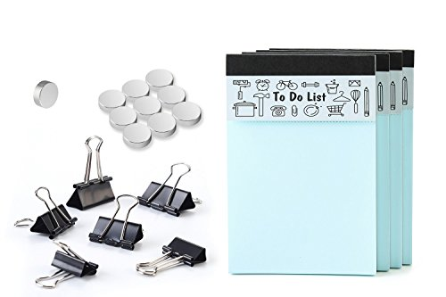 EHME 20 Pc Office Supplies Set, 4x6- inches To Do List Notepad- Writing Pad- Memo Pad,4 Packs with 50 Sheet/Pad,Perforated,Blue,Set of 10 Multi-Use Round Fridge Magnets and Black Binder Clips 6 Sets