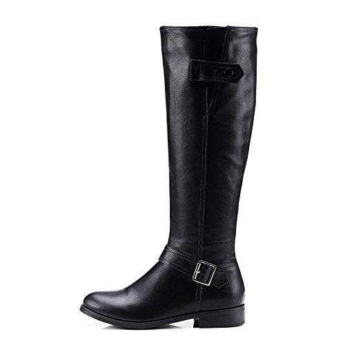 BalaMasa Urethane Black Womens Boots Solid Buckle Zipper gw71g4x