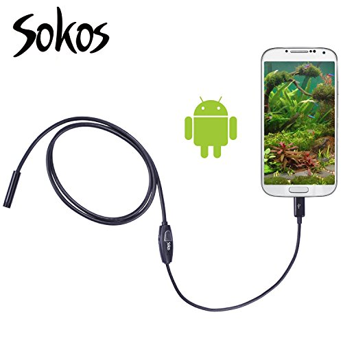Endoscope, Snake Camera, Sokos Micro USB Borescope Waterproof Inspection Camera for Laptops and USB OTG Compatible Android Smartphones (1M | 3.28ft)