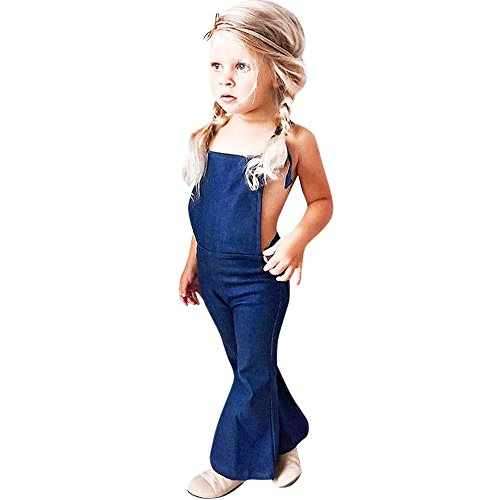 Euone Toddler Girls Strap Backless Denim Overall Romper Trousers Kids Jumpsuits (4-5 Years Old, Blue)