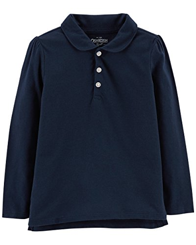 Osh Kosh Girls' Long Sleeve Uniform Polo Shirt, Navy 1, ()
