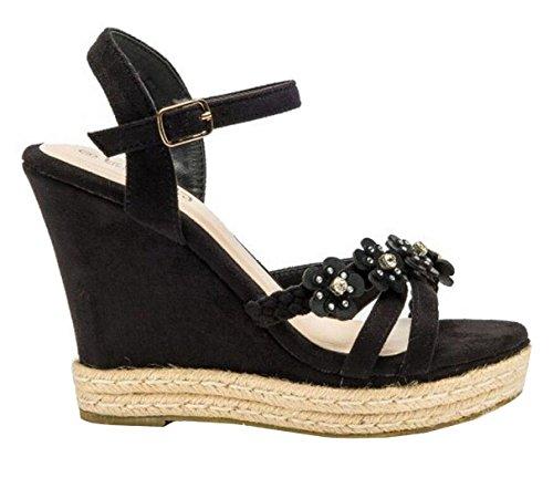 SHU CRAZY Womens Ladies Faux Suede High Wedge Heel Sling-Back Espadrille Sandals Shoes - P23 Black PCHqBGEm