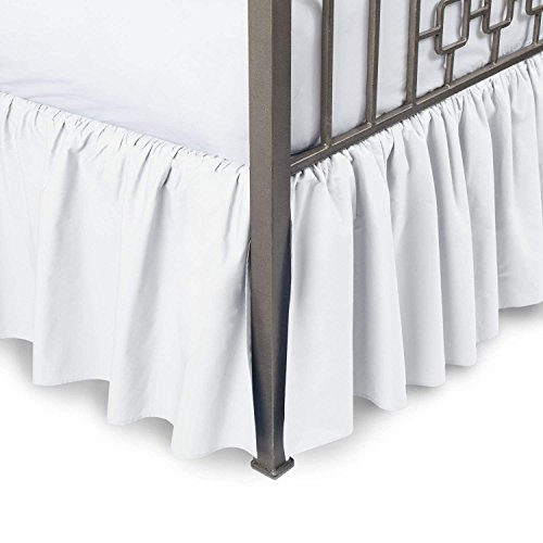 Ruffled Bed Skirt with Split Corners Three Side Coverage, Easy fit, Made Brushed Microfiber Full 18 inches - White ()