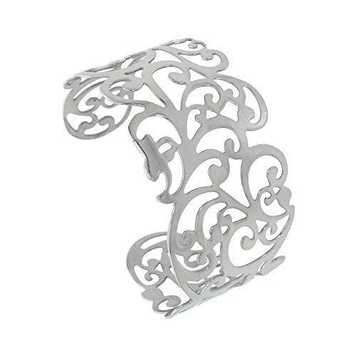 Stainless Steel Floral Vine Open Cuff (Floral Vine Jewelry Collection)