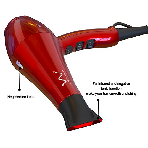 VAV 1875w Powerful Negative Ion Hair Dryer, Ceramic Professional Far Infrared Blow Dryer 2 Speeds 3 Temperatures Cool Shot Button with Concentrator, Red (red)