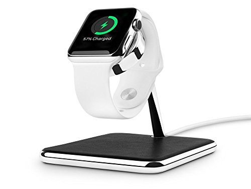 Twelve South Forte for Apple Watch | Chrome and Leather Display and Charging (Watch Chrome Leather Band)
