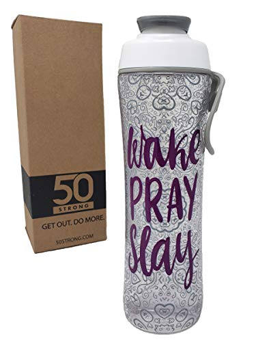 (50 Strong BPA Free Gym Water Bottle with Ice Guard Flip Top Cap & Carry Loop - Cute Designer Prints - Perfect for Men, Women, Sports & Workout - 24 oz. - Made in USA (Wake Pray Slay, 24 oz.))