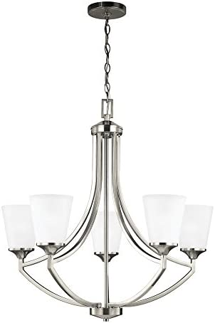 Sea Gull Lighting 3124505-962 Hanford Five-Light Chandelier Hanging Modern Fixture, Brushed Nickel Finish