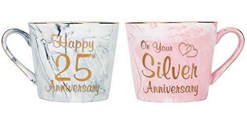 Happy Homewares Beautifully Designed 25th Anniversary Grey and Pink Marble 12oz Ceramic Mugs with Golden Metal Trim Perfect Wedding Idea -
