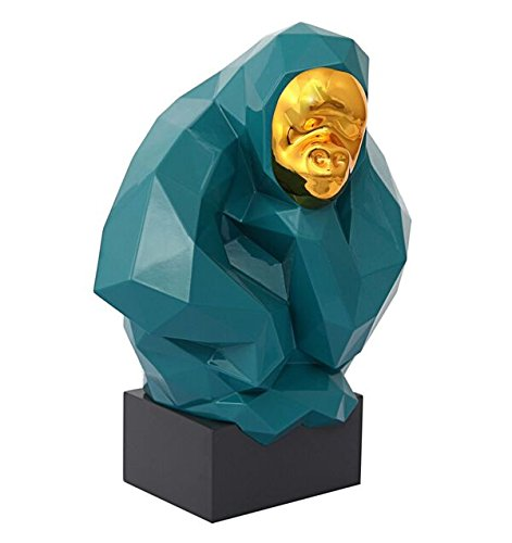 TOV Furniture The Midas Touch Collection Modern Geometric Pondering Ape Large Sculpture, Green & Gold