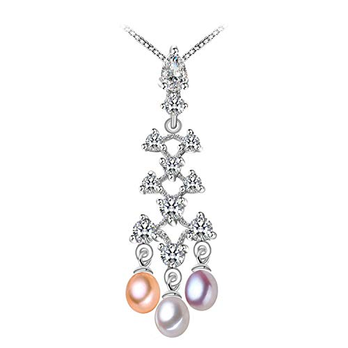 (Wedding Engagement Natural Crown Pearl Necklaces & Pendants 925 Sterling Silver Pendant Necklace for Women,Three Purple Pearls)
