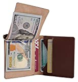 Men's RFID Blocking Wallet with money clip - Brown