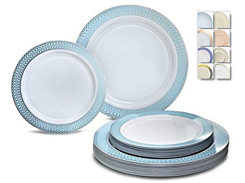 OCCASIONS 120 Plates Pack,(60 Guests) Premium Premium Wedding Party Disposable Plastic Plates Set for Christmas-60 x 10 Dinner + 60 x 7.5 Salad/Dessert (Venice Blue and Silver)