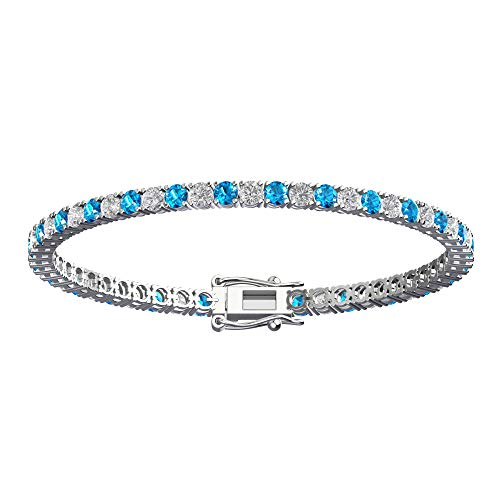 3mm Solid Sterling Silver Swiss Blue Topaz and white topaz 4.5CTW High Polished Tennis Bracelet with Box Clasp