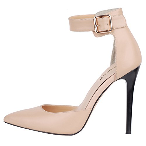 queenfoot Women's High Heel PointedToe D'Orsay&Two-Piece Ankle Buckle Strap Comfort Dress Pumps Shoes Nude Artificial Leather 7.5 B(M) US