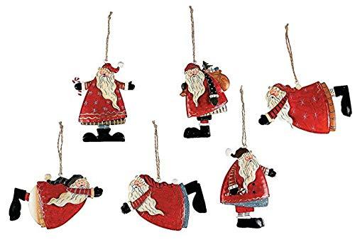 Metal Tin Santa Claus Christmas Ornaments - 12 Piece Pack (Homemade Christmas Decorations Fun)