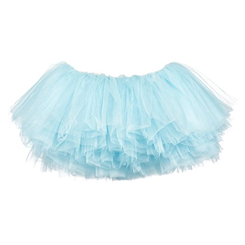 My Lello Little Girls 10-Layer Short Ballet Tulle Tutu Skirt (4 mo. - 3T) -Light Blue