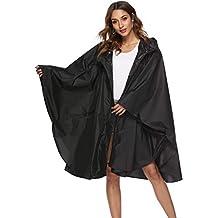 Buauty Womens Hooded Zip up Waterproof Active Outdoor Rain Jacket Raincoats Lightweight Poncho