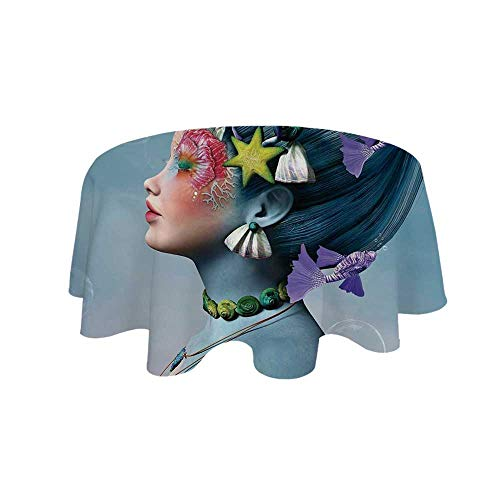 YOLIYANA Mermaid Waterproof Round Tablecloth,Woman with Underwater Themed Make Up Hairstyle Starfishes Seashells Fishes Bubbles for Living Room,23.6