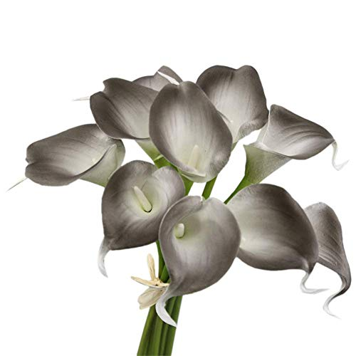 20pc Set of Keepsake Artificial Real Touch Calla Lily with Small Bloom Perfect for Making Bouquet, Boutonniere,Corsage (Smoke Silver Grey) ()