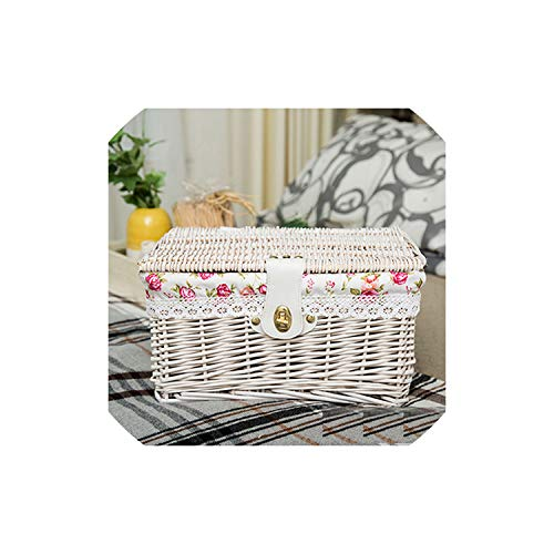 fantasticlife06 Creative Bamboo Woven Storage Basket With Lid With Lock Storage Clothes Sundries Toy Storage Box Organizer Wicker Material,White Rose,Medium]()