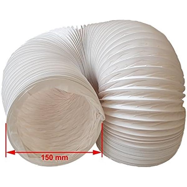 daniplus - Tubo flexible de PVC de salida de aire, 150 mm de diámetro, 4 m de largo, para, p. ej., instalaciones de aire acondicionado, secadoras o campanas extractoras: Amazon.es: Hogar